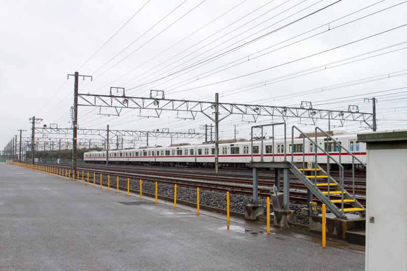 北総線の車庫・印旛車両基地(2015年3月)