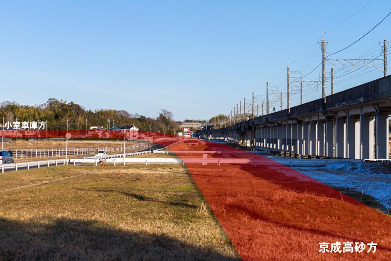 神崎川右岸には小室高架橋の建設予定地が確保されている